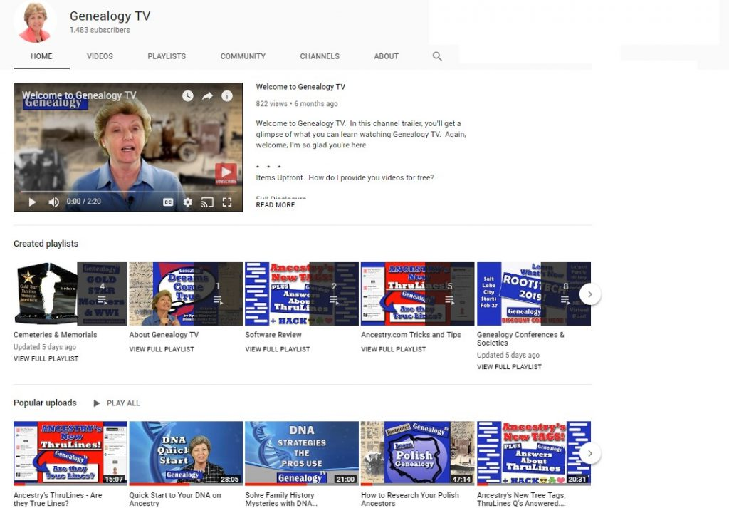 Playlist on Genealogy TV's YouTube Channel.