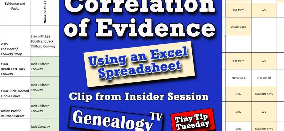 Correlation of Evidence in Genealogy